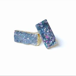 Lavender Druzy Quartz Stud Earrings Brand New